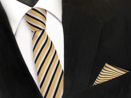 schmale TigerTie Designer Krawatte + Einstecktuch in gold weiß schwarz gestreift