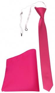 TigerTie Sicherheits Krawatte + Einstecktuch pink leuchtpink einfarbig Uni Rips