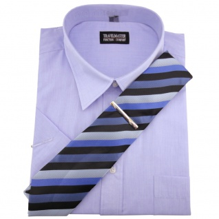 TRAVELMASTER Business Herrenhemd blau - Hemd Gr.41/42 L kurzarm Krawatte Nadel