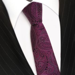 schmale schöne MEXX Seidenkrawatte in flieder lila Paisley-Muster - Krawatte Tie - Vorschau 3