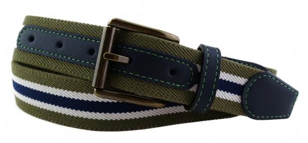 TigerTie - Stretchgürtel oliv grün dunkelblau weiß gestreift - Bundweite 90 cm