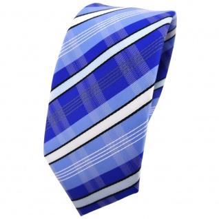 Schmale TigerTie Krawatte blau hellblau marine weiß schwarz grau gestreift