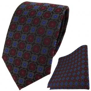 TigerTie Designer Krawatte + Einstecktuch anthrazit weinrot blau gemustert