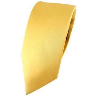 schmale TigerTie Satin Seidenkrawatte gold hellgold einfarbig - Krawatte Seide