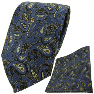 TigerTie Krawatte + Einstecktuch in blau gold schwarz rot Paisley - Vorschau