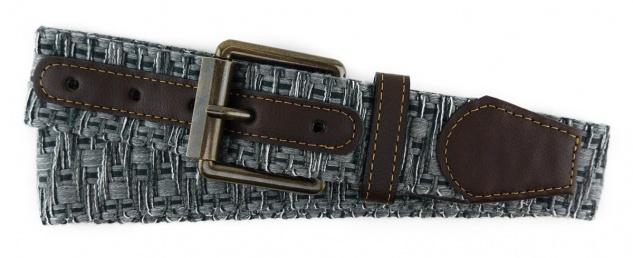 TigerTie - Stoffgürtel in grau anthrazit weiss gemustert - Bundweite 120 cm