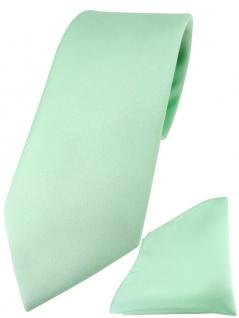 TigerTie Designer Krawatte + TigerTie Einstecktuch in mint einfarbig uni