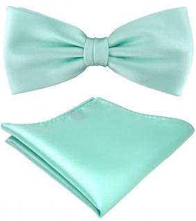 TigerTie Satin Fliege + Einstecktuch in helles mint grün Einfarbig + Geschenkbox