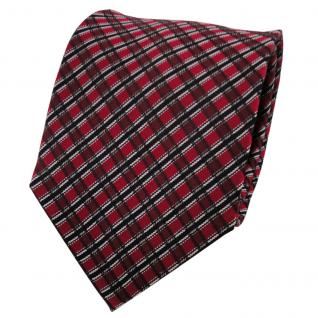 Designer Seidenkrawatte rot weinrot schwarz grau kariert - Krawatte Seide