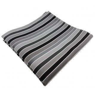 TigerTie Einstecktuch anthrazit schwarz grau silber gestreift - Tuch Polyester