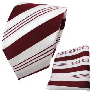 TigerTie Designer Krawatte + Einstecktuch in rot purpurrot weiß silber gestreift