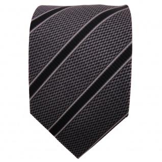 TigerTie Seidenkrawatte anthrazit grau schwarz gestreift - Krawatte Seide Binder - Vorschau 2
