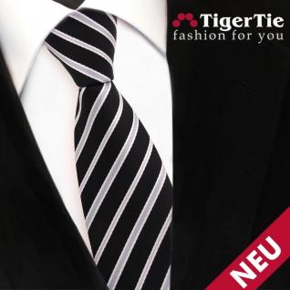 Schmale TigerTie Krawatte schwarz silber grau gestreift - Schlips Binder Tie
