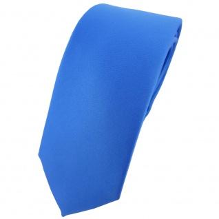 schmale TigerTie Designer Krawatte in blau einfarbig Uni