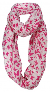 Damen Loop Schal pink magenta weissgrau Motiv Schmetterlinge - Gr. 160 x 100 cm