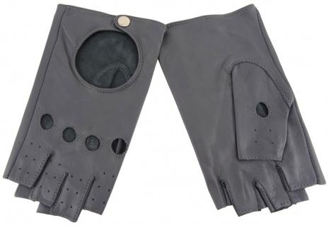 Damen Handschuhe fingerlos - hochwertiges weiches Schafsleder grau - Gr. 7, 5 - Vorschau 1