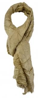 TigerTie Schal in beige einfarbig mit kleinen Fransen - Gr. 180 x 70 cm