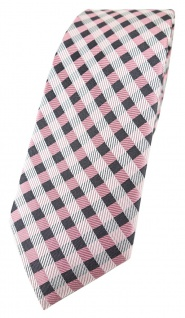 schmale TigerTie Designer Seidenkrawatte in rosa anthrazit weiß kariert