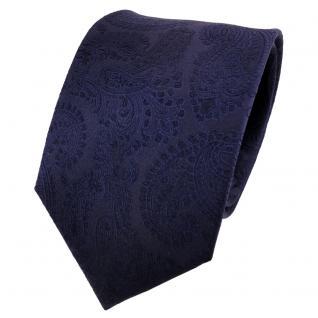 TigerTie Seidenkrawatte blau dunkelblau schwarzblau Paisley - Krawatte 100% Silk