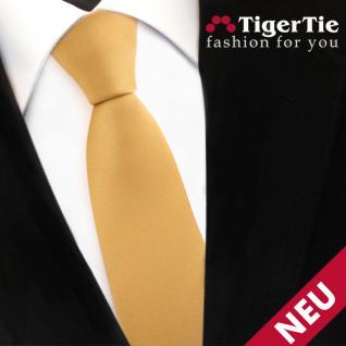 Schmale TigerTie Satin Krawatte gold Uni - Schlips Binder Tie