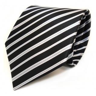3er Set TigerTie Krawatte + Einstecktuch + Box in schwarz silber grau gestreift - Vorschau 4