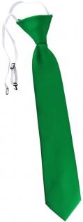 TigerTie Kinderkrawatte grün leuchtgrün Uni einfarbig - vorgebunden mit Gummizug