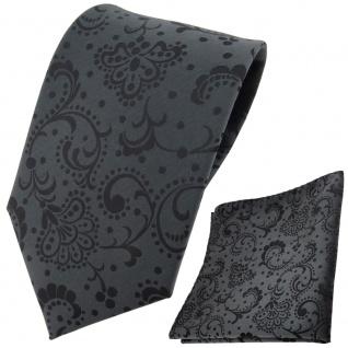 TigerTie Krawatte + Einstecktuch anthrazit schwarz gemustert