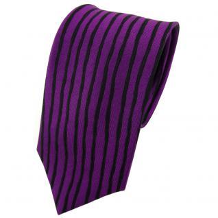 Seidenkrawatte lila dunkellila schwarz längs gestreift - Krawatte Seide Tie Silk