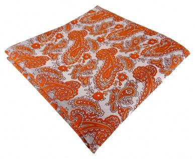 TigerTie Designer Einstecktuch orange silber Paisley gemustert - Gr. 30 x 30 cm