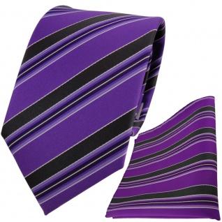 TigerTie Designer Krawatte + Einstecktuch in lila violett schwarz weiß gestreift