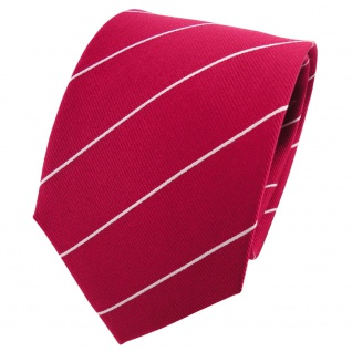 TigerTie Seidenkrawatte rot blutrot silber gestreift - Krawatte 100% Seide
