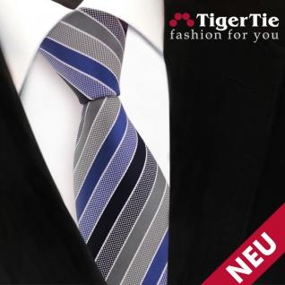 TigerTie Designer Krawatte blau dunkelblau grau silber gestreift - Binder Tie - Vorschau 3