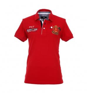 Pontto Herren Designer Polo Hemd Shirt rot kurzarm Gr. S - Polohemd Poloshirt