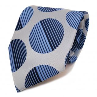Designer Krawatte blau hellblau dunkelblau royal grau gepunktet - Schlips Binder