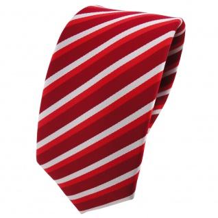 Schmale TigerTie Krawatte rot hellrot verkehrsrot silber gestreift - Binder Tie