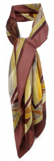 TigerTie Halstuch braun gold bronze beige gestreift - 100% Seide Gr. 90 x 90 cm