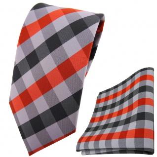 schmale TigerTie Krawatte + Einstecktuch in orange silber grau anthrazit kariert