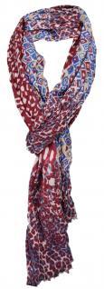 TigerTie Schal in weinrot rot petrol grau blau beige gemustert mit kl. Fransen
