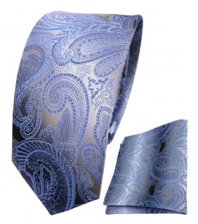 schmale TigerTie Seidenkrawatte + Einstecktuch blau anthrazit grau Paisley