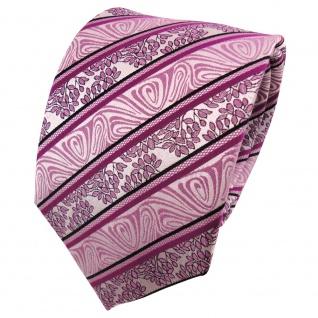 TigerTie Seidenkrawatte magenta rosa schwarz silber gestreift - Krawatte Seide