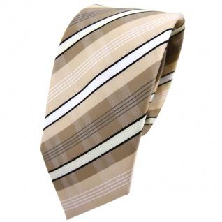Schmale TigerTie Krawatte beige elfenbein weiß schwarz grau gestreift - Binder