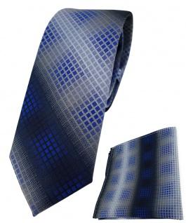 schmale TigerTie Krawatte + Einstecktuch royal marine silber anthrazit kariert