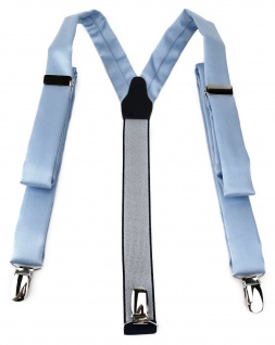 schmaler TigerTie Unisex Hosenträger mit 3 extra starken Clips - in hellblau Uni