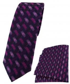 schmale TigerTie Krawatte + Einstecktuch violett schwarz - Motiv Flechtmuster