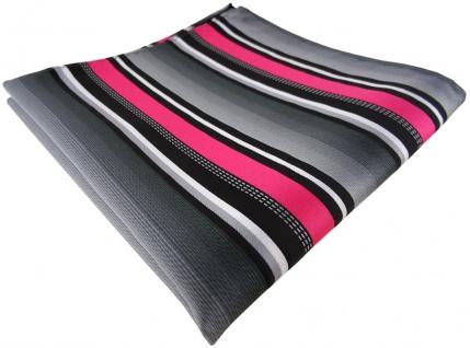 TigerTie Einstecktuch in pink silber grau weiss gestreift - Größe 30 x 30 cm