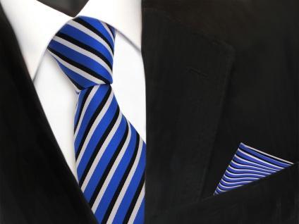 TigerTie Krawatte + Einstecktuch in blau ultramarin schwarz weiss gestreift