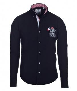 Pontto Designer Hemd Shirt in schwarz einfarbig langarm Modern-Fit Gr. XXL