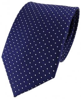 TigerTie Designer Seidenkrawatte blau dunkelblau silber gepunktet - Tie Krawatte