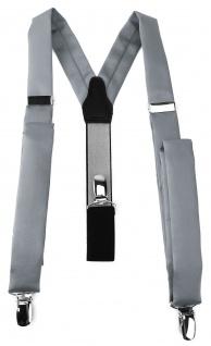 schmaler TigerTie Unisex Hosenträger mit 3 extra starken Clips - silbergrau Uni
