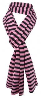 Damen Schal rosa schwarz gestreift Gr. 172 cm x 27 cm - Halstuch Tuch